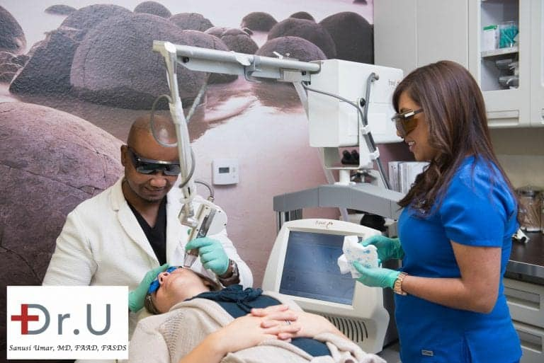 Dr. Umar chose the Fraxel Dual laser, as well as the Spectra laser, to treat the patient's age spots on face. Both lasers are noted for their gentle yet powerful, targeted treatments.