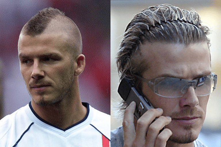 In 2001 (left) Beckham left his weekly zero guard shaving schedule and grew out a mohawk. In 2002, he grew out his hair even more to style a half-up do with braids, showing off his hairline. Even then, many men wondered how to style your hair like David Beckham.