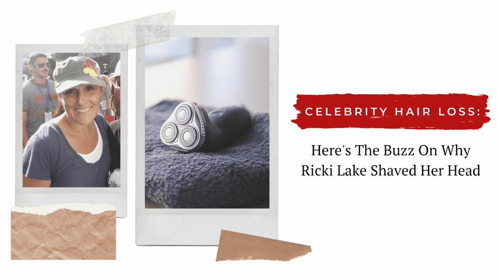 Ricki Lake wearing a hat next to a razor