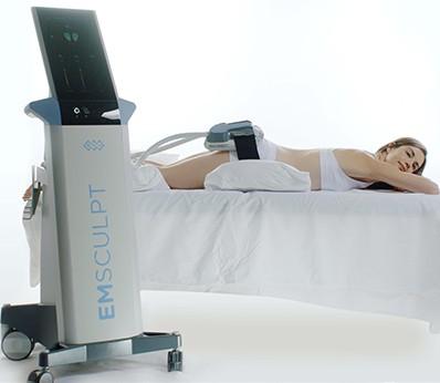 Patients lie down during their Emsculpt treatment sessions