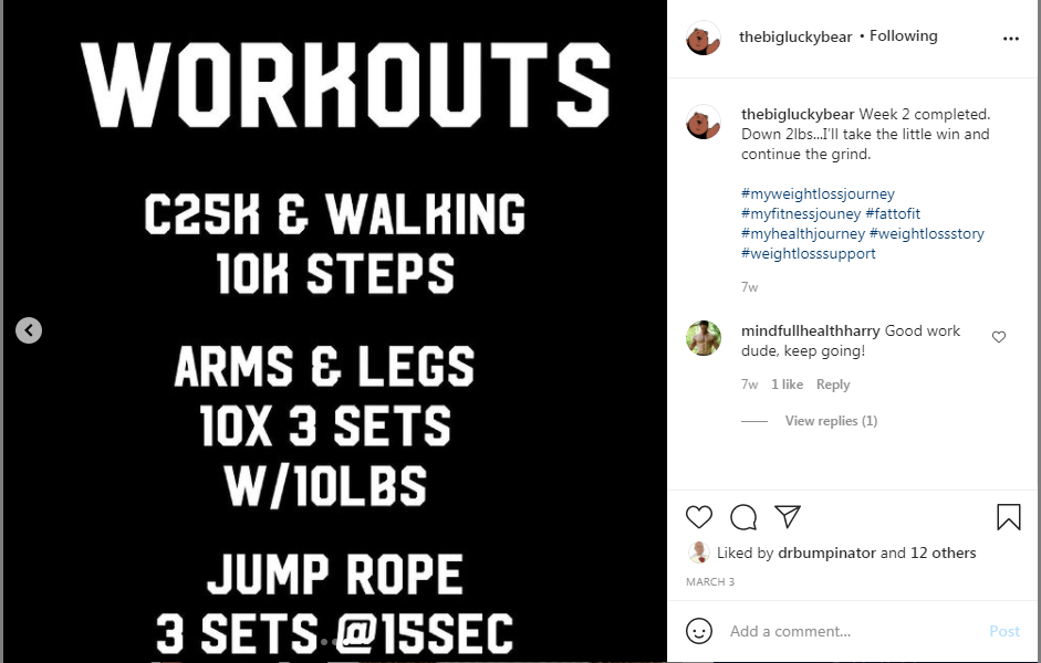 @thebiglucky bear proudly showcases his workout accomplishments